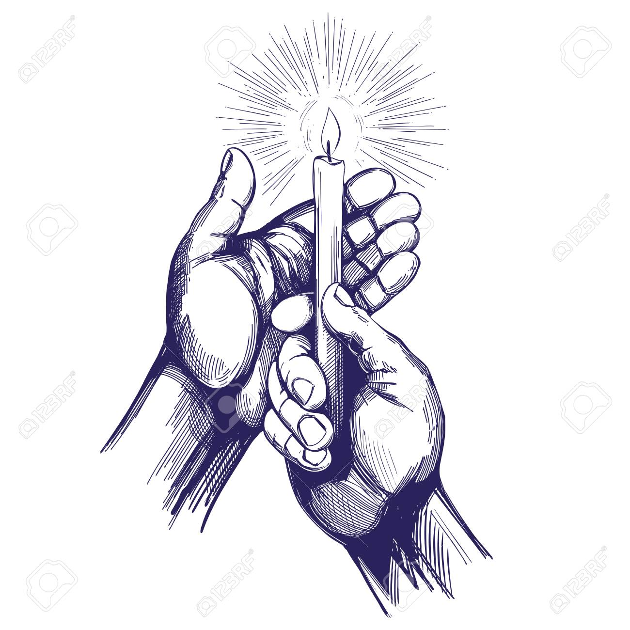 hand holds burning candle shines in the dark hand drawn vector illustration realistic sketch.