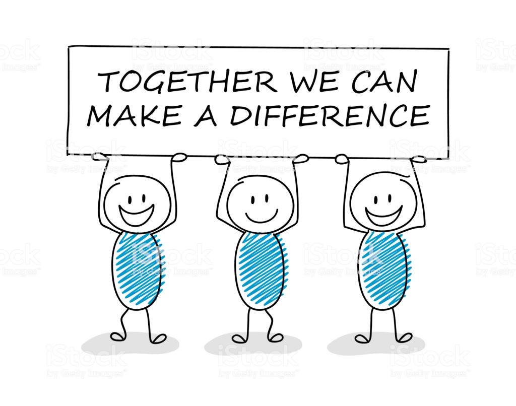 Business illustration concept with cartoon stickman holding board with text: together we can make a difference. Vector.